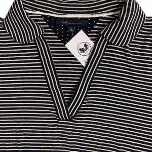 חולצת פולו שחורה פסים לבנים 3