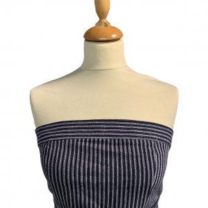 שמלת סטרפלס פסים כחול לבן עם קשירה במותן 4