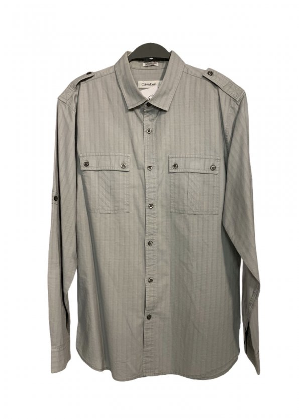 חולצה ארוכה מכופתרת אפור בהיר עם משבצות לבנות קטנות - Calvin Klein 1