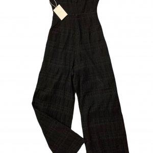 אוברול סטרפלס שחור ארוך עם חגורה שחורה של TULAROSA 2