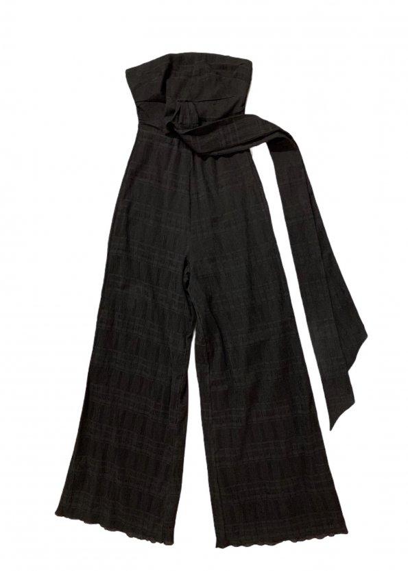 אוברול סטרפלס שחור ארוך עם חגורה שחורה של TULAROSA 1