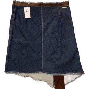 חצאית ג'ינס אסימטרית עם עור - Trussardi Jeans 2