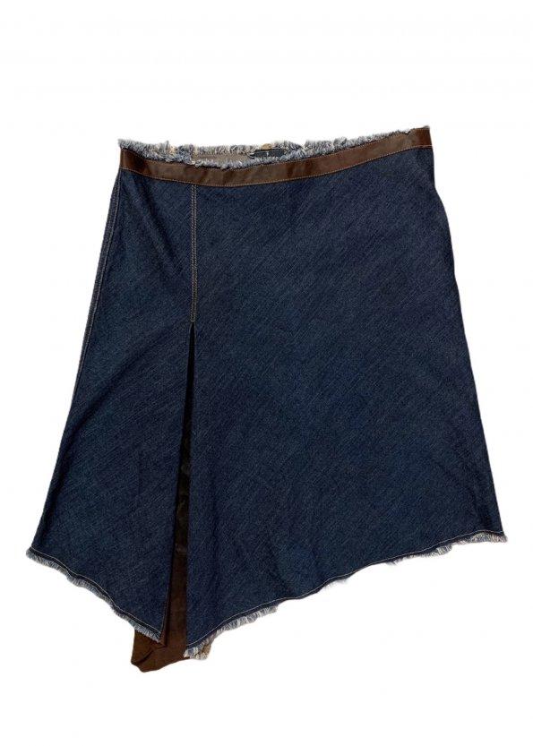 חצאית ג'ינס אסימטרית עם עור - Trussardi Jeans 1