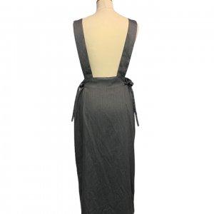 שמלת מקסי אפורה עם שרוולים קצרים ושסע בצד 2