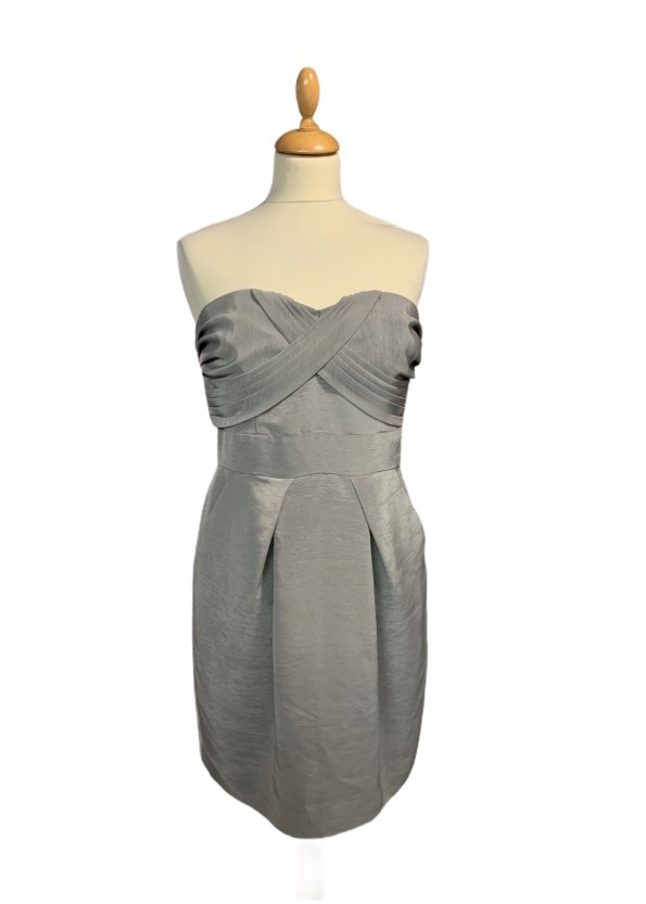 שמלת סטרפלס אפורה מבית BCBGMAXAZRIA 1