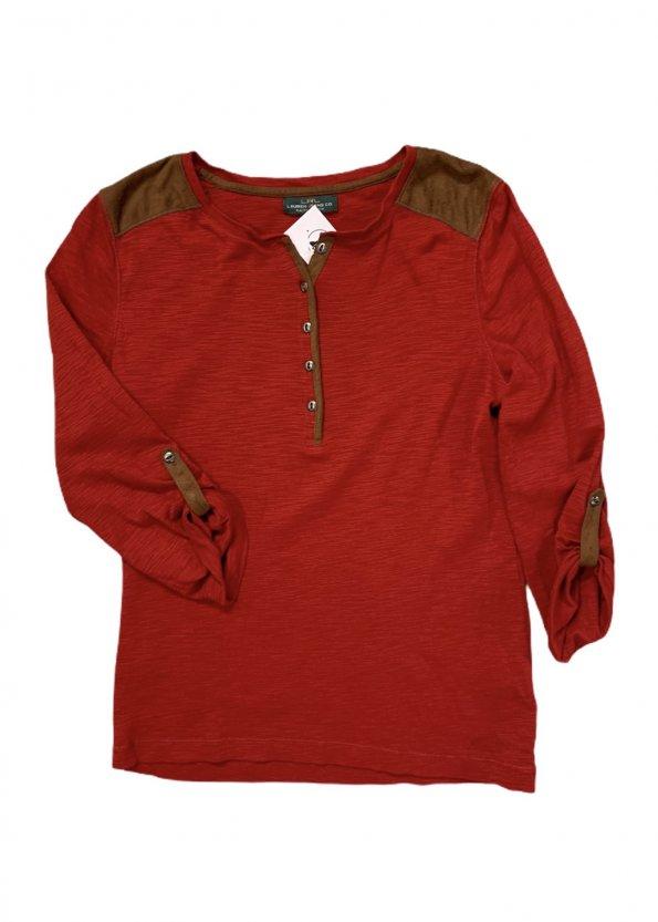 חולצה 3/4 אדומה עם כפתורים חומים 1