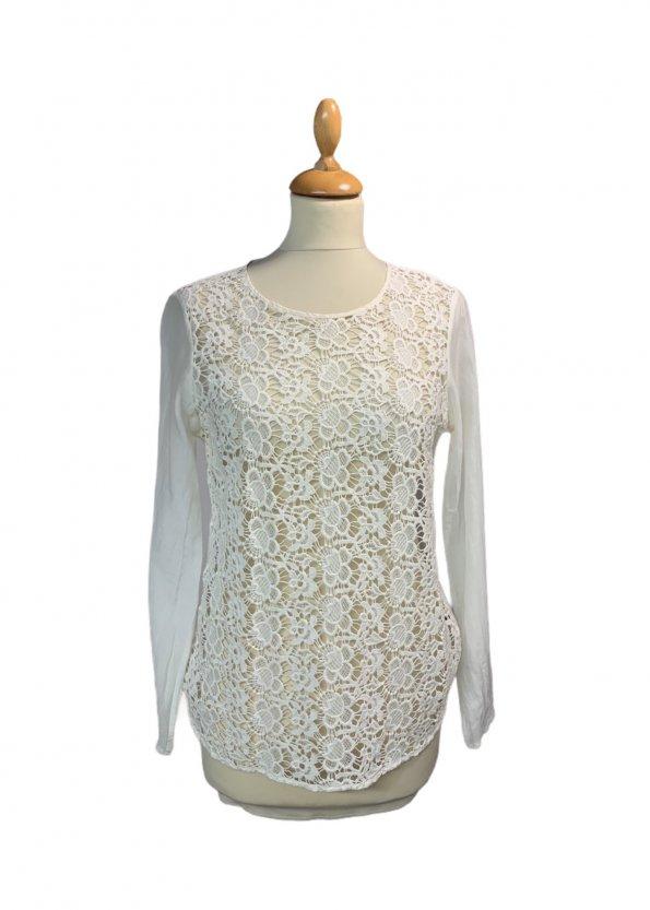 חולצת משי / כותנה עם רקמה קדמית - Massimo Dutti 1
