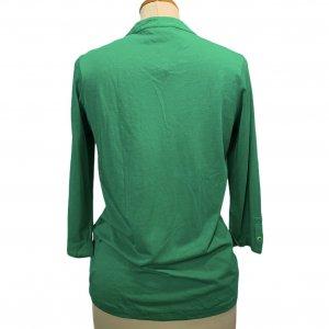 חולצה ארוכה ירוקה עם כפתורים למעלה - Massimo Dutti 2