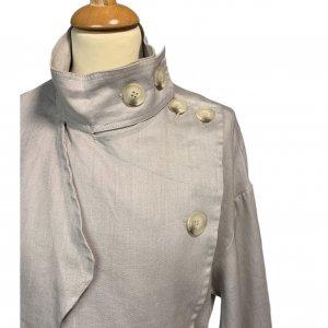 מעיל טרנץ' ארוך כפתור אפור 5
