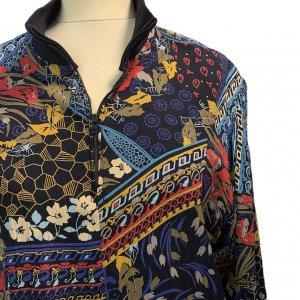 שמלת וינטג׳ ארוכה שחורה עם הדפס אתני כחול אדום 4
