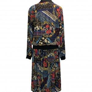 שמלת וינטג׳ ארוכה שחורה עם הדפס אתני כחול אדום 2