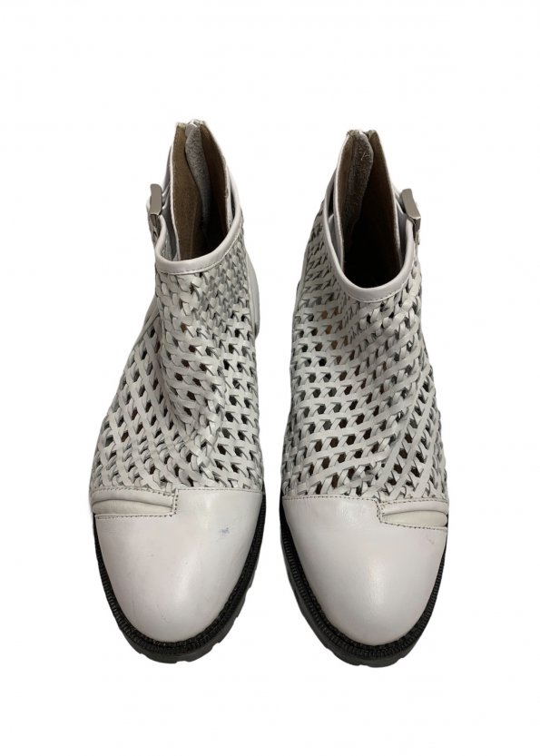 נעליים גבוהות עור לבן ארוג - Jeffrey Campbell 1