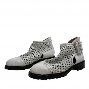 נעליים גבוהות עור לבן ארוג - Jeffrey Campbell 2