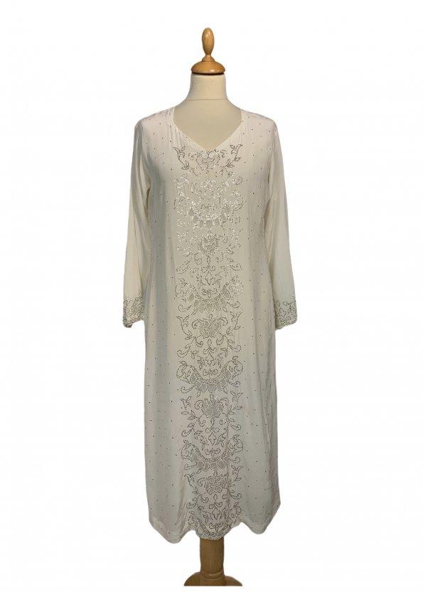 שמלת גלביה משי שמנת נצנצים 1