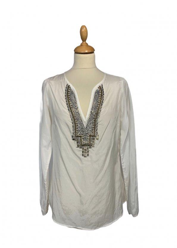 חולצה ארוכה לבנה עם פייטים וחרוזים חומים - Banana Republic 1