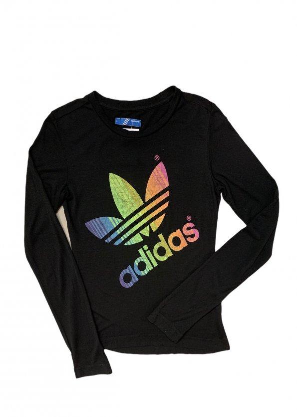 טי שירט ארוכה שחורה, הדפס Adidas צבעוני 1