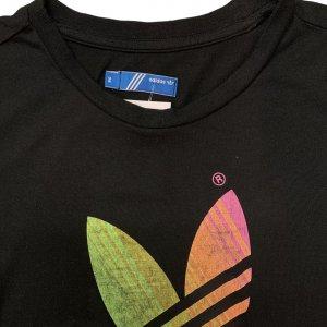 טי שירט ארוכה שחורה, הדפס Adidas צבעוני 3