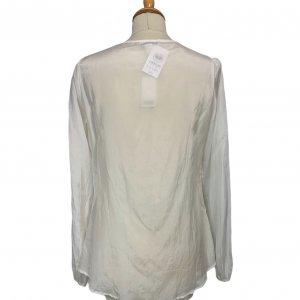 חולצה ארוכה לבנה עם פייטים וחרוזים חומים - Banana Republic 2
