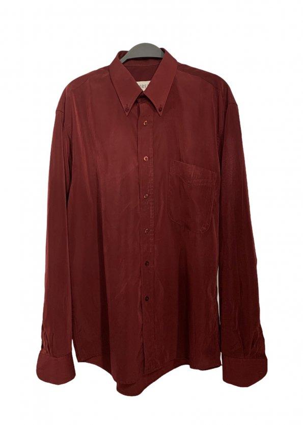 חולצת כפתורים וינטג׳ מבריקה בצבע בורדו 1