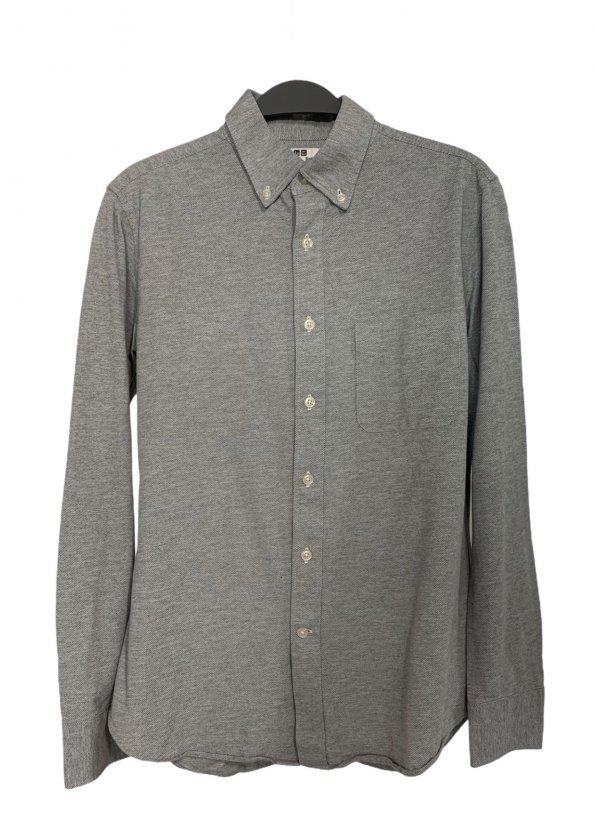 חולצה ארוכה אפורה עם כפתורים שקופים וכיס מקדימה 1