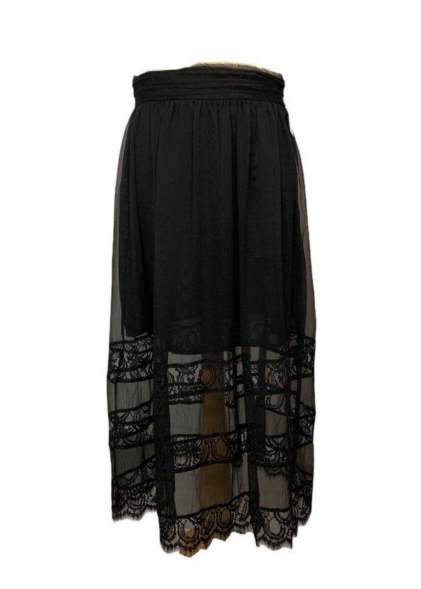 חצאית מקסי שחורה תחרה 1