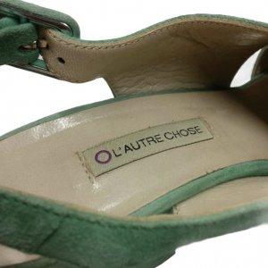 סנדלי עקב פלטפורמה עור זמש ירוק בהיר - L'Autre Chose 6