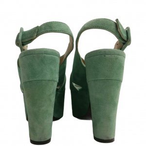 סנדלי עקב פלטפורמה עור זמש ירוק בהיר - L'Autre Chose 5