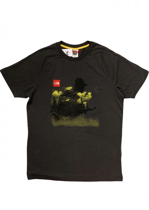 טי שירט עם ציור שחור ושפריצים צהובים - The North Face 1