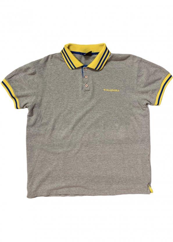 חולצה פולו אפורה וינטג׳ - Diadora 1