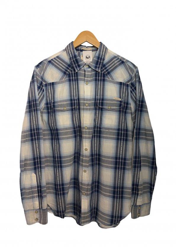 חולצה משובצת מכופתרת עם שרוולים ארוכים כחולה - Lucky Brand 1