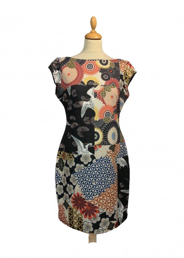 שמלה קצרה Desigual בדוגמא צבעונית גיאומטרית אוריינטלית 1