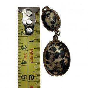 עגילי קליפ חום / שחור סגלגל עם אבני ג'ספר דלמטיות 4