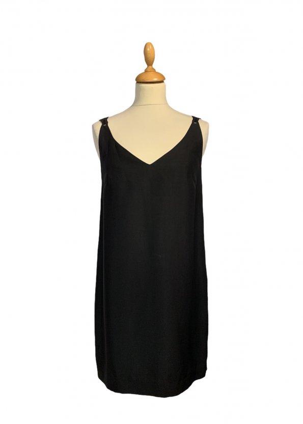 שמלה אלגנטית שרוול קצר צבע שחור דיטייל זהב 1