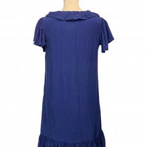 שמלה שרוול קצר משי כחול עם טראפלים של Sandro Paris 2