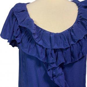 שמלה שרוול קצר משי כחול עם טראפלים של Sandro Paris 3