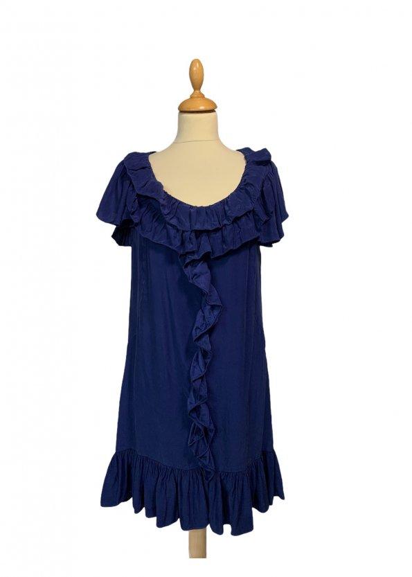 שמלה שרוול קצר משי כחול עם טראפלים של Sandro Paris 1