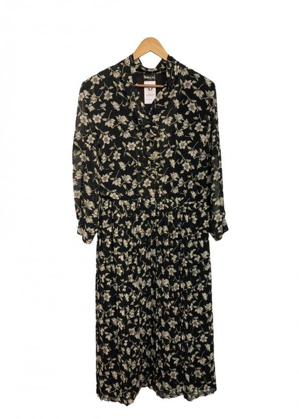 שמלת וינטג׳ שחורה פרחונית 1