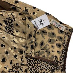 שמלה ארוכה כתף אחת משי הדפס מנומר מזהב של YVES SAINT LAURENT 6