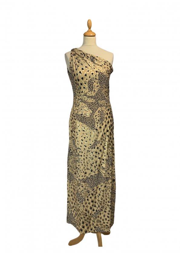 שמלה ארוכה כתף אחת משי הדפס מנומר מזהב של YVES SAINT LAURENT 1