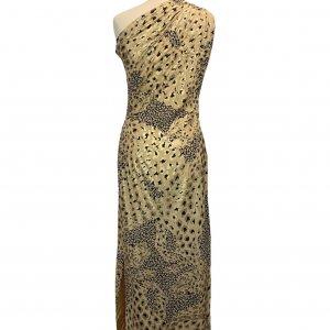 שמלה ארוכה כתף אחת משי הדפס מנומר מזהב של YVES SAINT LAURENT 2