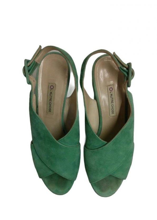 סנדלי עקב פלטפורמה עור זמש ירוק בהיר - L'Autre Chose 1