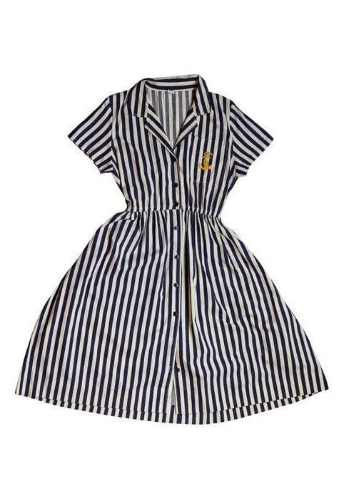 שמלת פסים כחול לבן עם עוגן 1