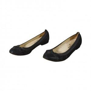 נעלי בובה עור שחור עם גומי - CHANEL 3