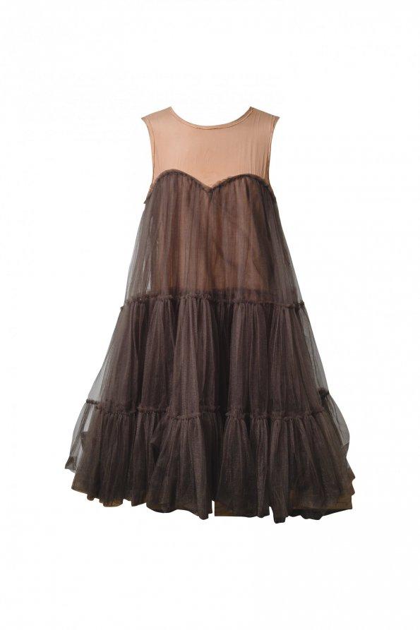 שמלת שכבות ממשי ורשת בצבע ירוק בקבוק - Lanvin for H&M 1