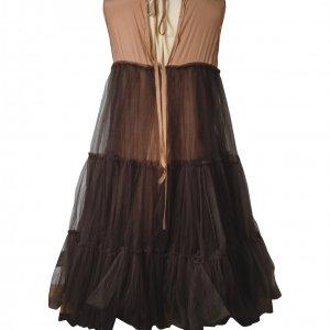 שמלת שכבות ממשי ורשת בצבע ירוק בקבוק - Lanvin for H&M 3