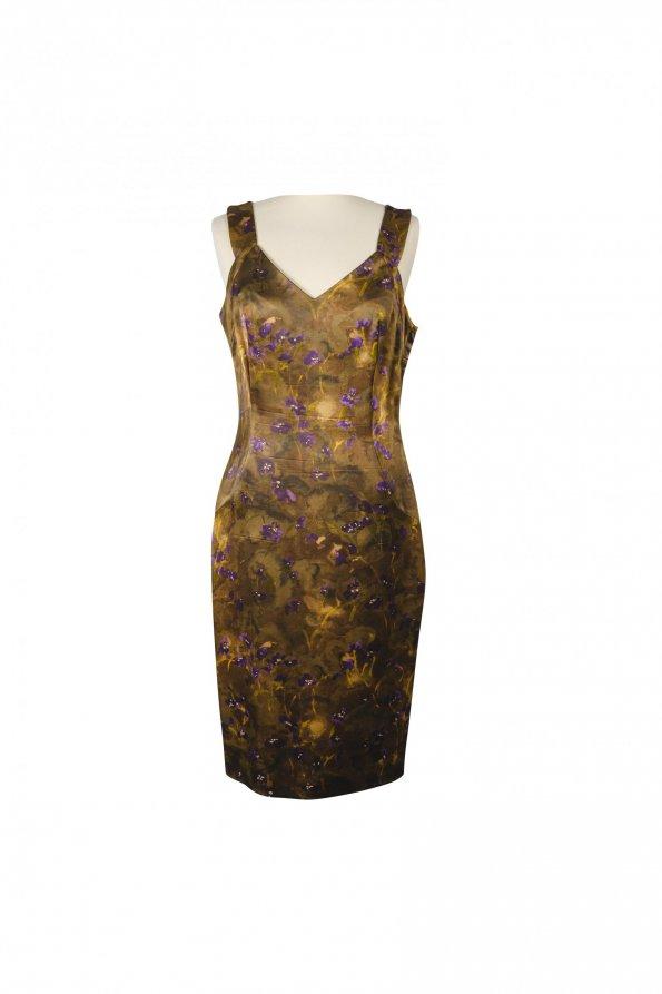 שמלה ירוק חום פרחים סגולים 1