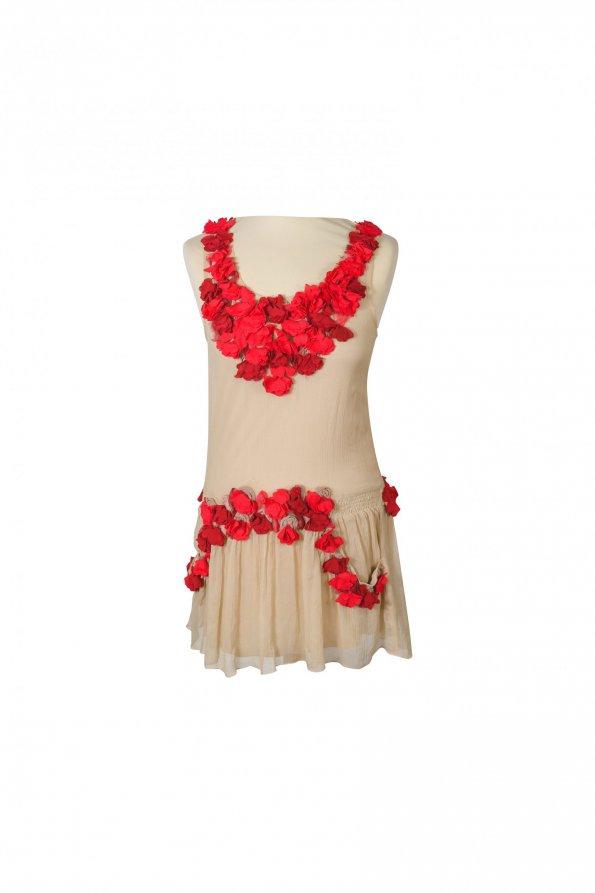 שמלה שמנת פרחים אדומים משי - Just Cavalli 1