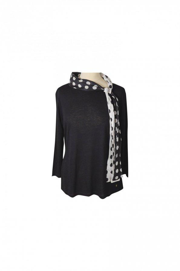 חולצת טריקו שחורה עם שרוולים ארוכים של CAROLINA HERRERA 1