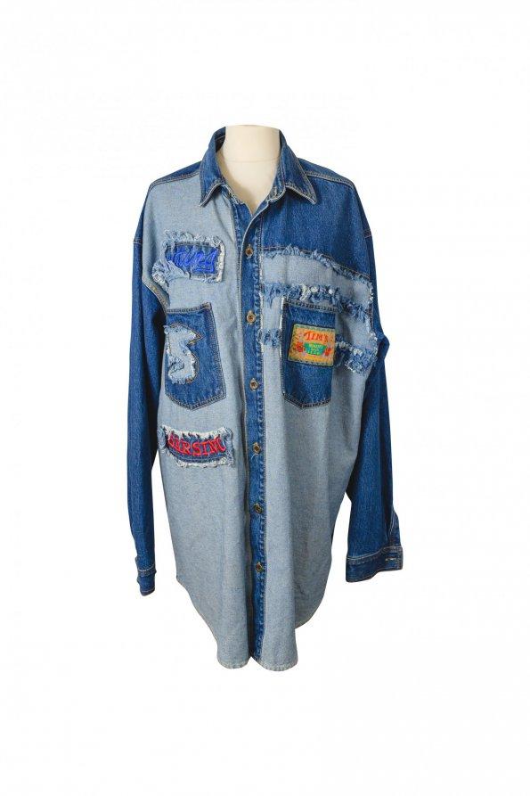 מעיל ג'ינס OVERSIZE עם כיסים דקורטיביים 1