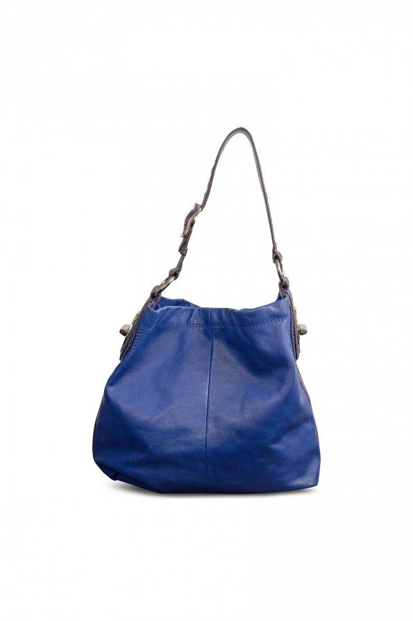 תיק בינוני עור כחול בשילוב עם פס וידית כחול מנוחש - Coach 1